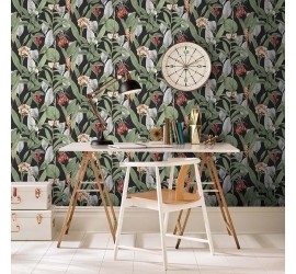 Обои флизелиновые Graham&Brown Hybryd - Botanical Black Wallpaper 103798