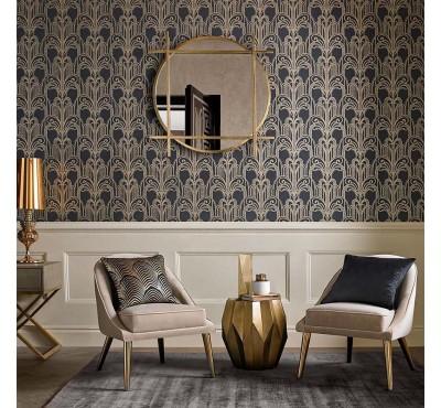 Обои флизелиновые Graham&Brown Established - Art Deco Black and Gold Wallpaper 104299