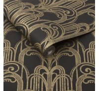 Обои флизелиновые Graham&Brown Established - Art Deco Black and Gold Wallpaper 104299