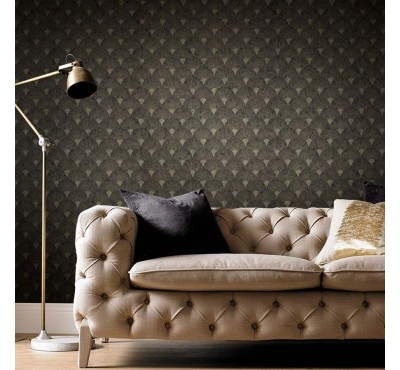 Обои флизелиновые Graham&Brown Established - Fan Black and Gold Wallpaper 104303