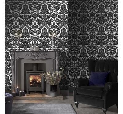 Обои флизелиновые Graham&Brown Established - Gothic Damask Flock Black Silver Wallpaper 104562