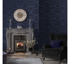 Обои флизелиновые Graham&Brown Established - Gothic Damask Flock Cobalt Wallpaper 104563