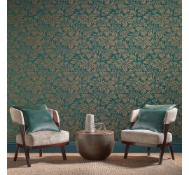 Обои флизелиновые Graham&Brown Established - Forest Spiced Teal Wallpaper 105279