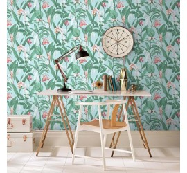Обои флизелиновые Graham&Brown Hybryd - Botanical Duck Egg Wallpaper 103800