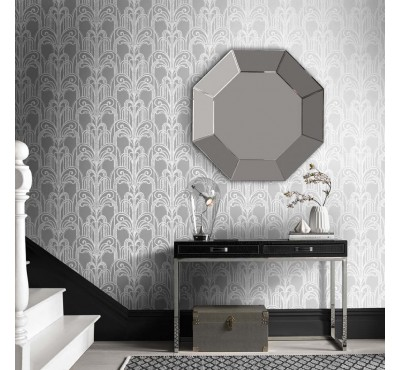 Обои флизелиновые Graham&Brown Established - Art Deco Silver Wallpaper 104297
