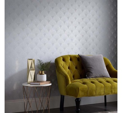 Обои флизелиновые Graham&Brown Established - Fan Silver Wallpaper 104301