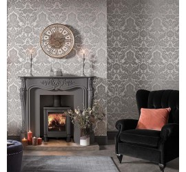 Обои флизелиновые Graham&Brown Established - Gothic Damask Flock Grey Silver Wallpaper 104564