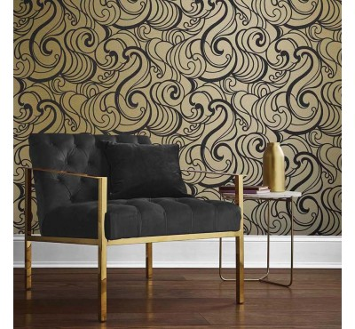 Обои флизелиновые Graham&Brown Established - Hula Swirl Guilded Wallpaper 105272