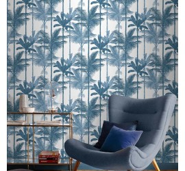 Обои флизелиновые Graham&Brown Hybryd - Jungle Cobalt Wallpaper 105914